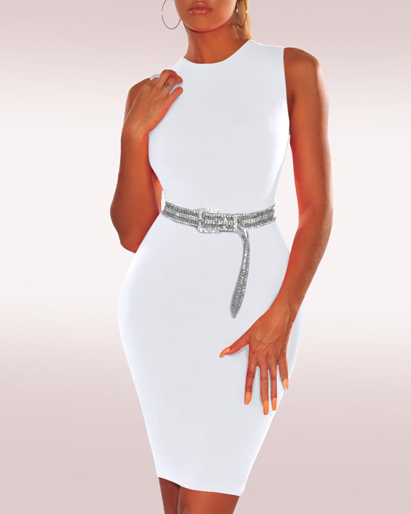 Solid Sleeveless Bodycon Dress фото