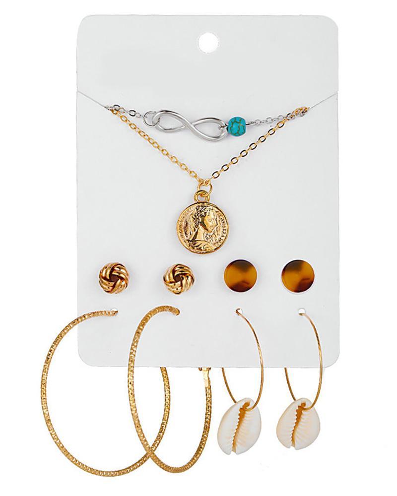 4 Pairs Beaded Hoop Tassel Ear Cuff Earring & Necklace & Hairpins Set фото