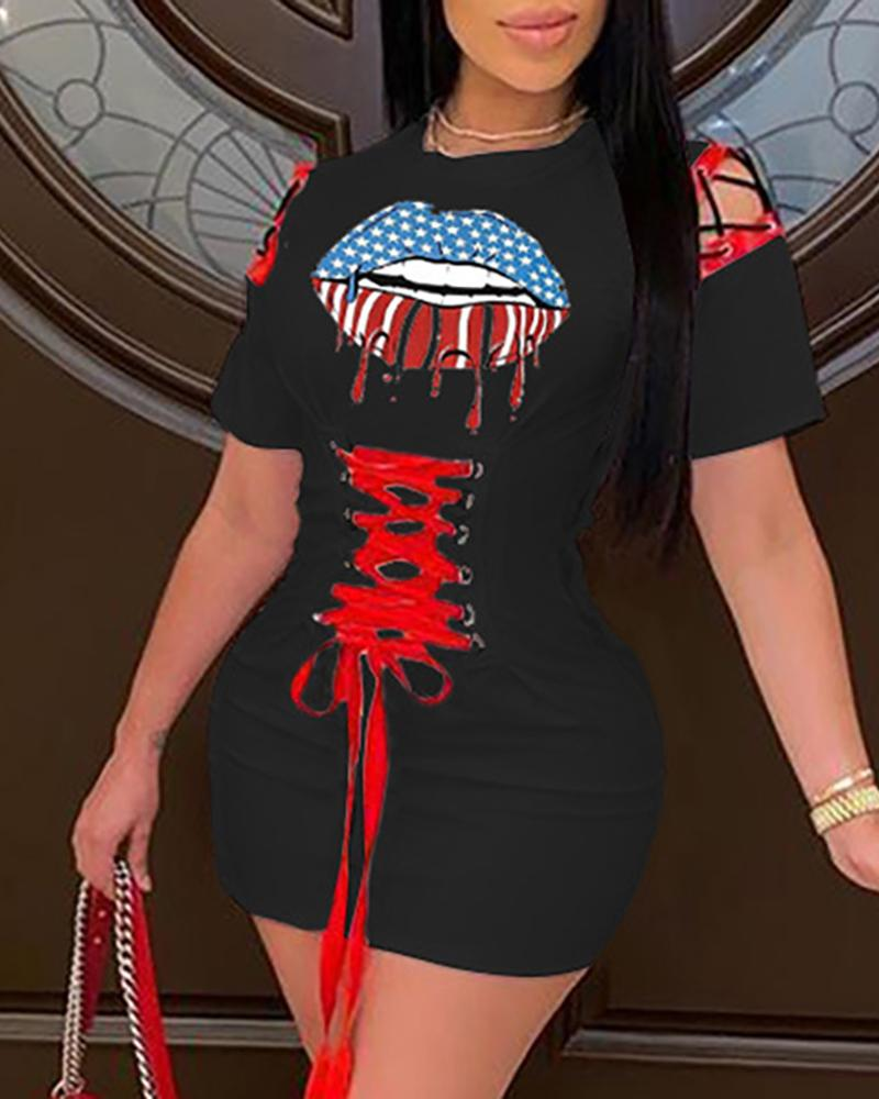 Lip Flag Print Eyelet Lace-Up Hollow Out Dress фото