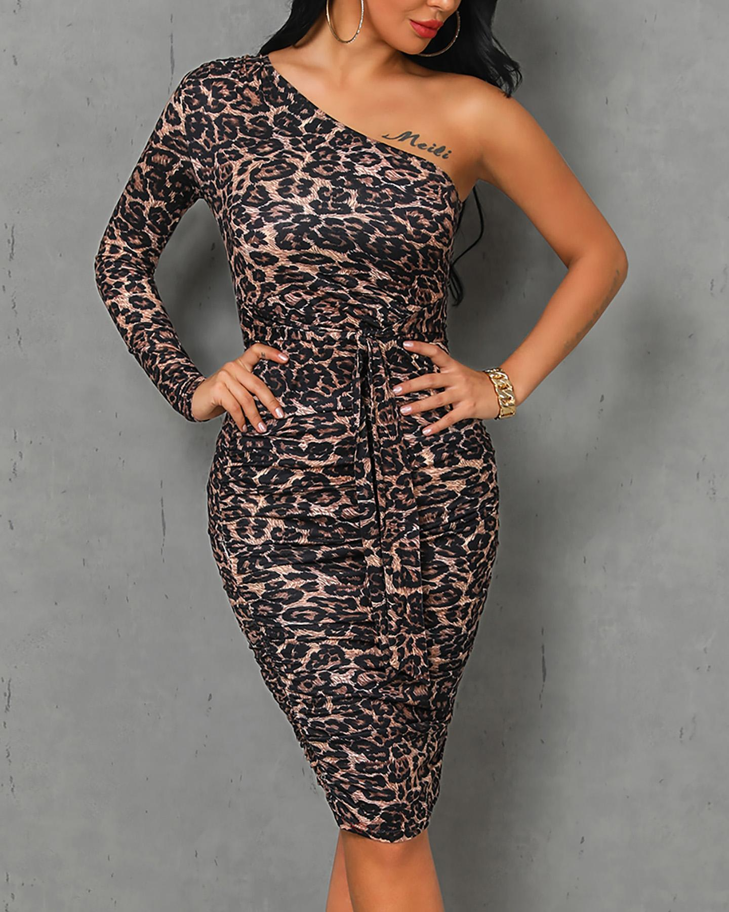 One Shoulder Leopard Print Ruched Bodycon Dress фото