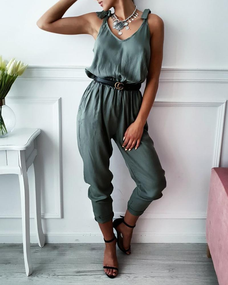 Tied Strap V-Neck Casual Jumpsuit фото
