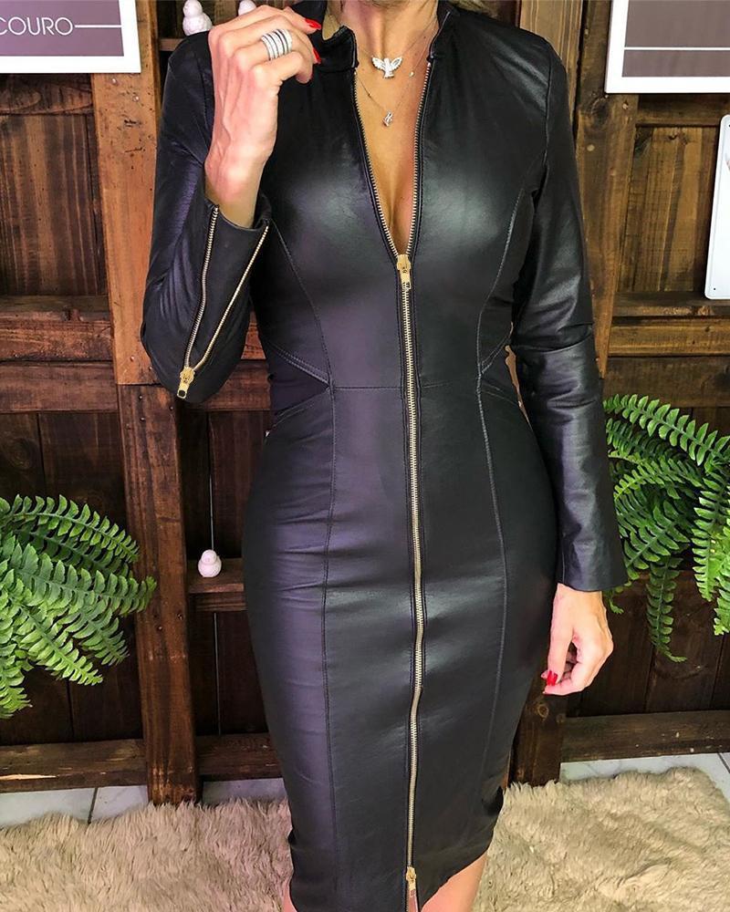chicme / Vestido ajustado de PU con diseño de cremallera