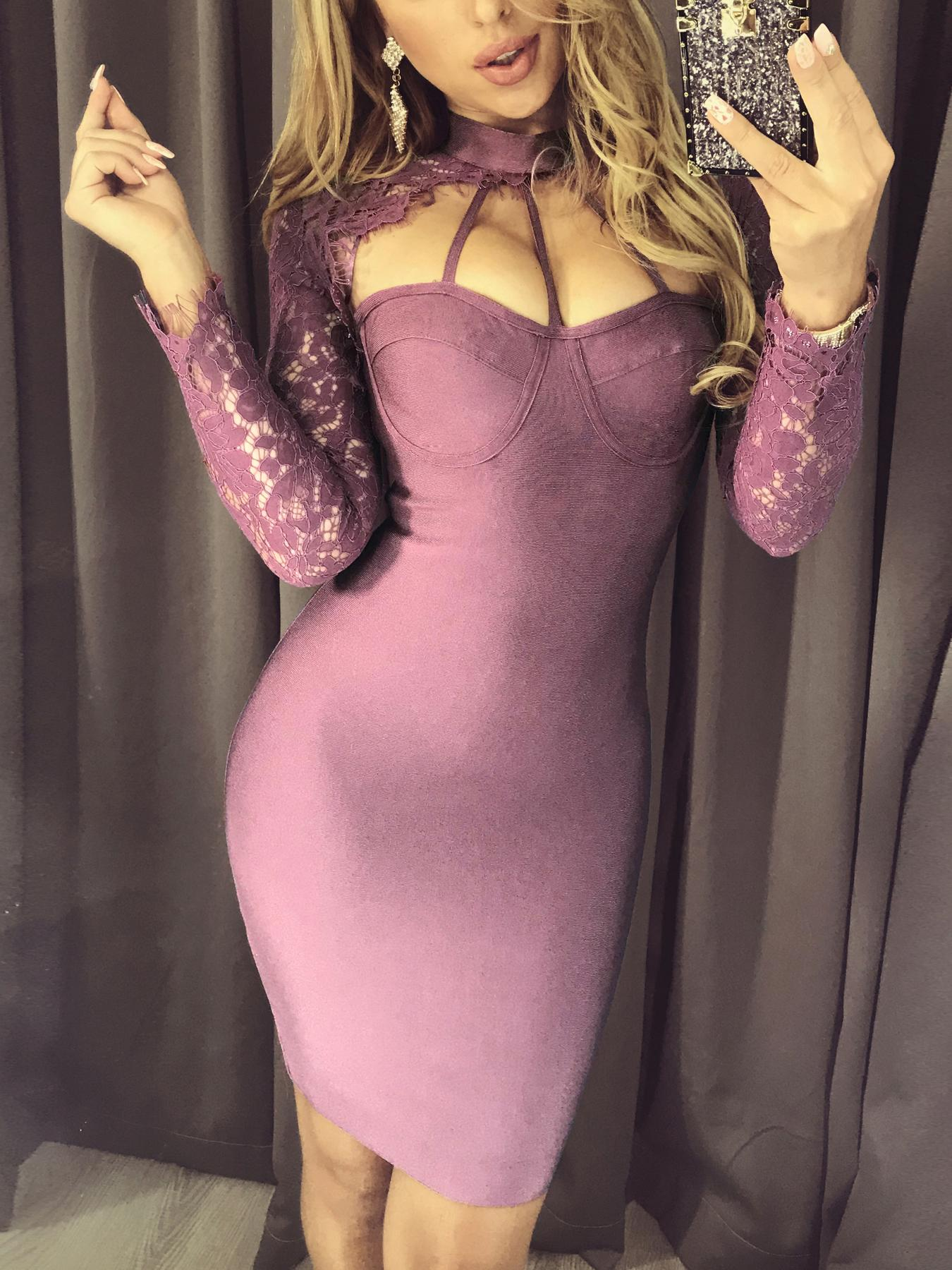 Caged Neck Lace Sleeve Bodycon Dress фото