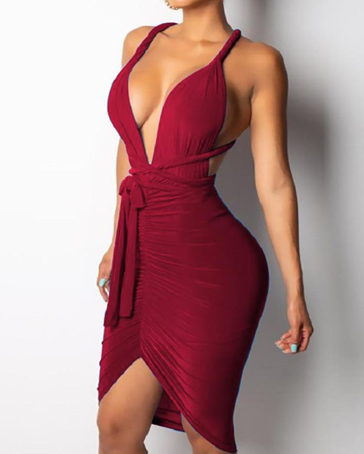Halter Ruched Knotted Front Bodycon Dress