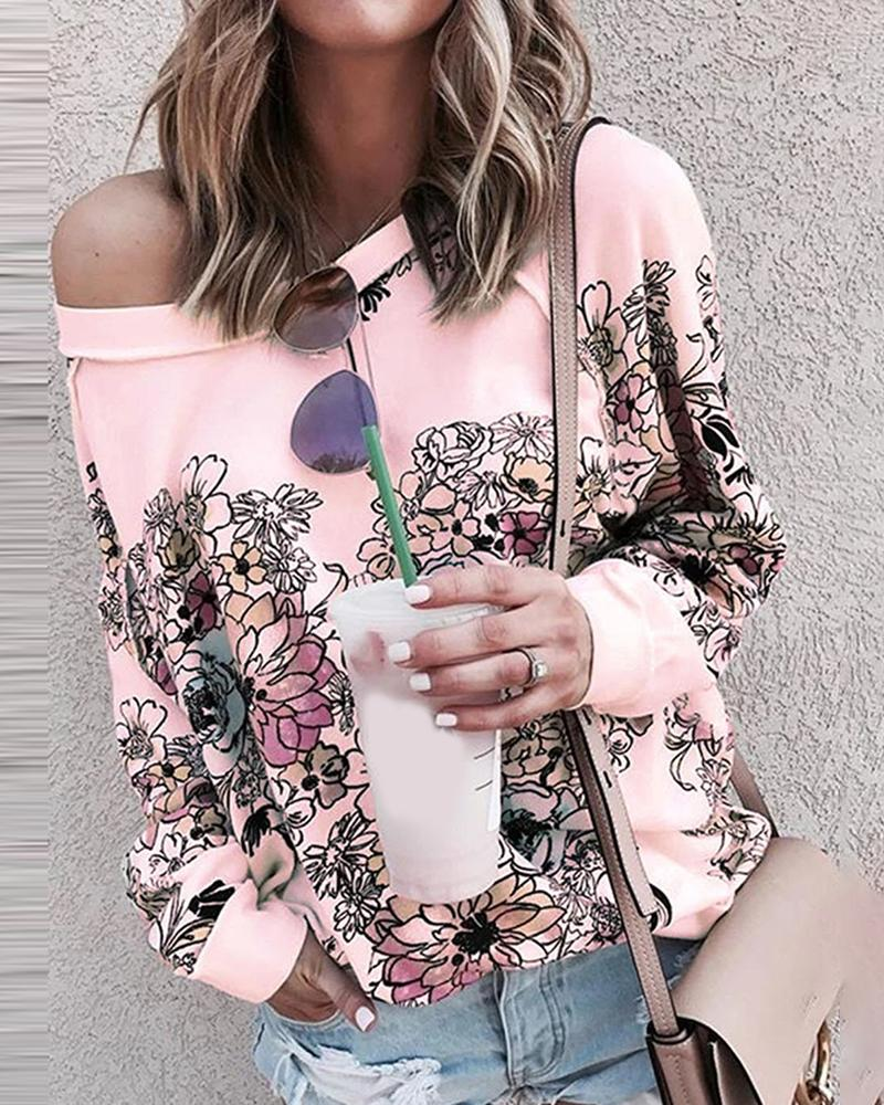 Floral Print Long Sleeve Casual Top фото