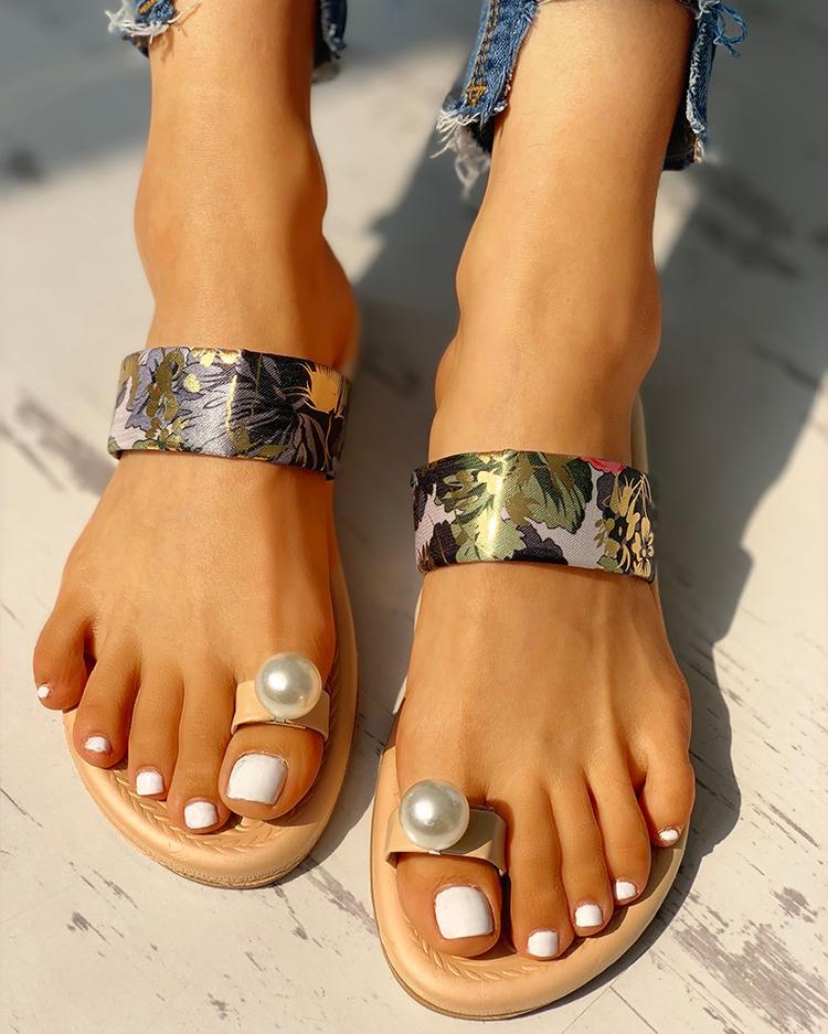 Beaded Design Tropical Print Casual Sandals фото