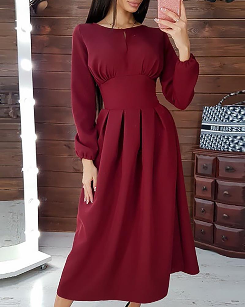 boutiquefeel / Vestido midi casual de cintura apretada sólida