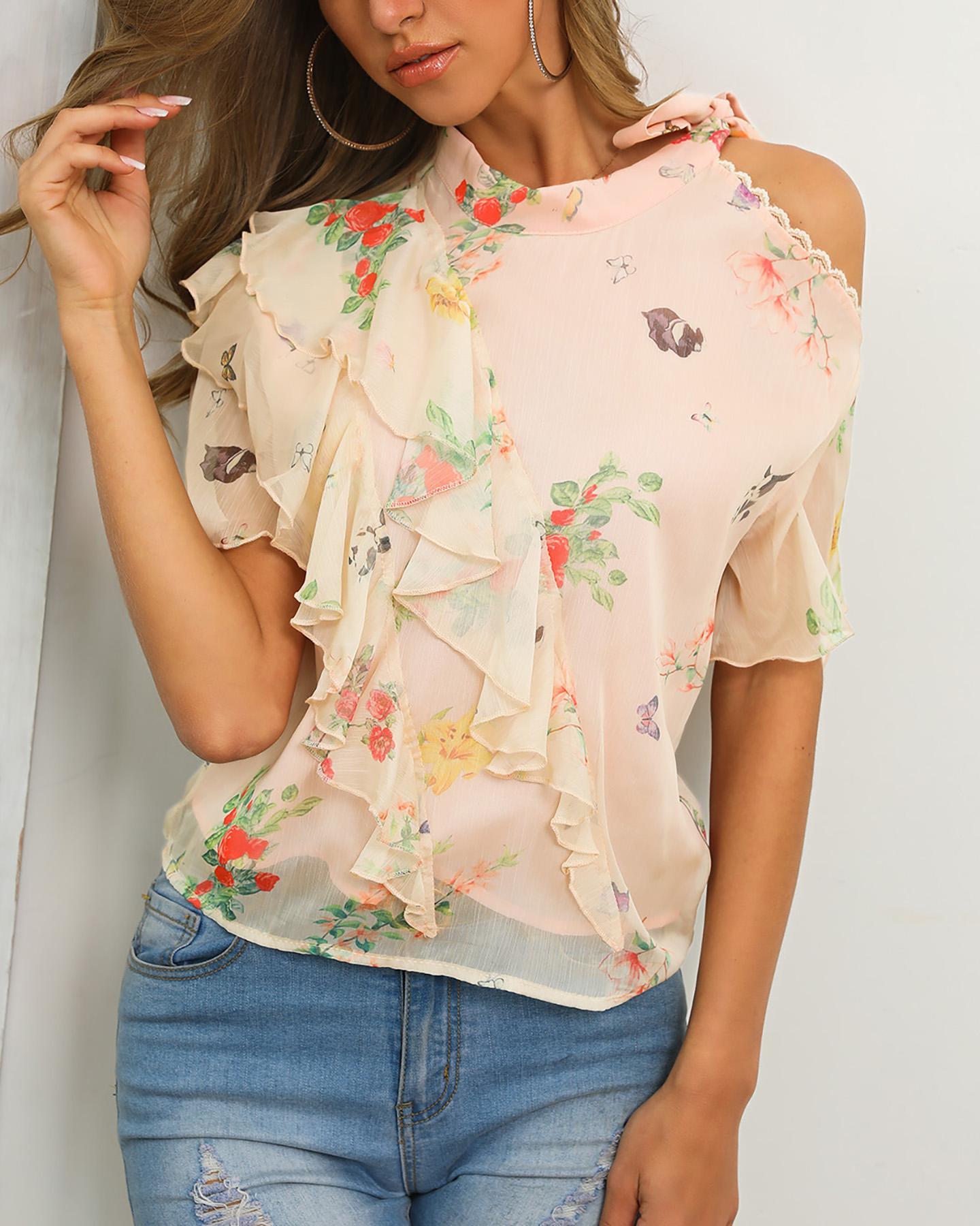 chicme / Blusa con estampado floral de hombros fríos
