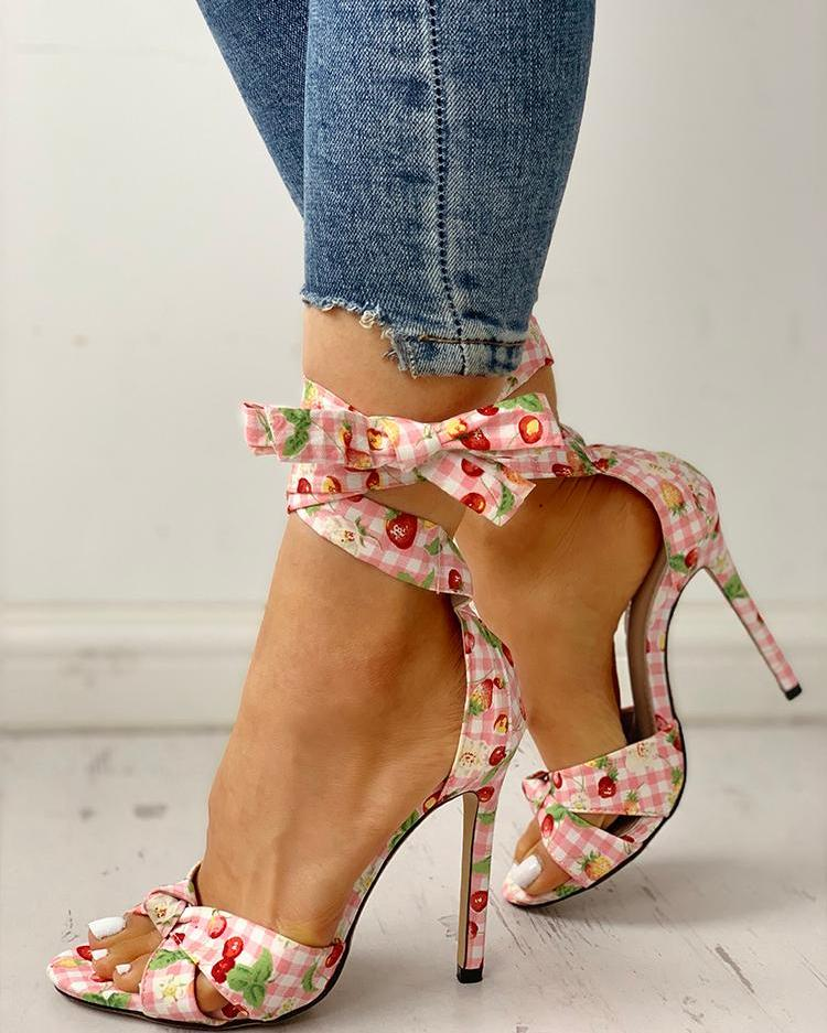 Floral Grid Print Crisscross Strappy Heeled Sandals