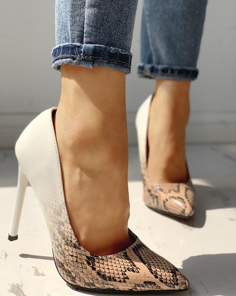 chicme / Pointed Toe Snakeskin Colorblock Insert Thin Heels