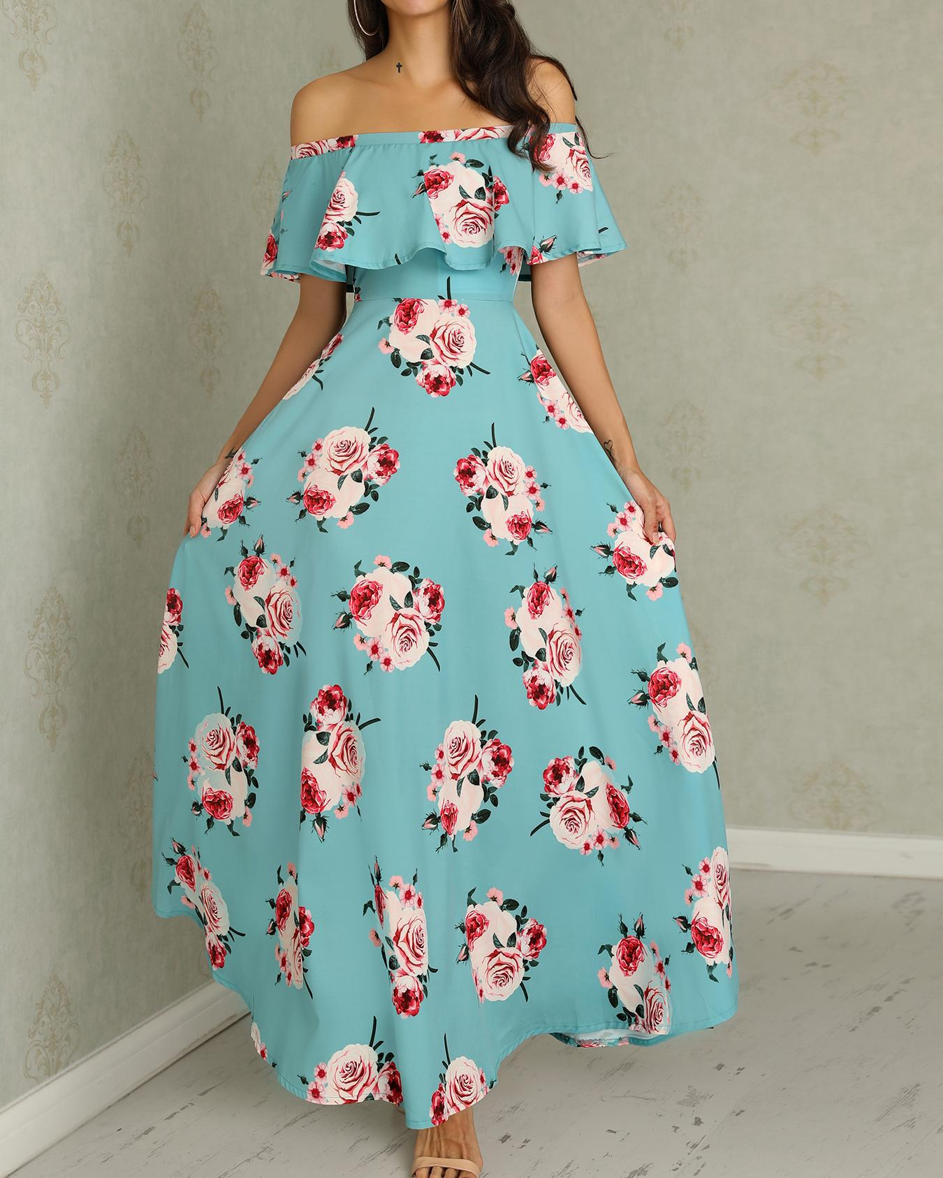 chicme / Floral Print Flounce Ruched Maxi Dress