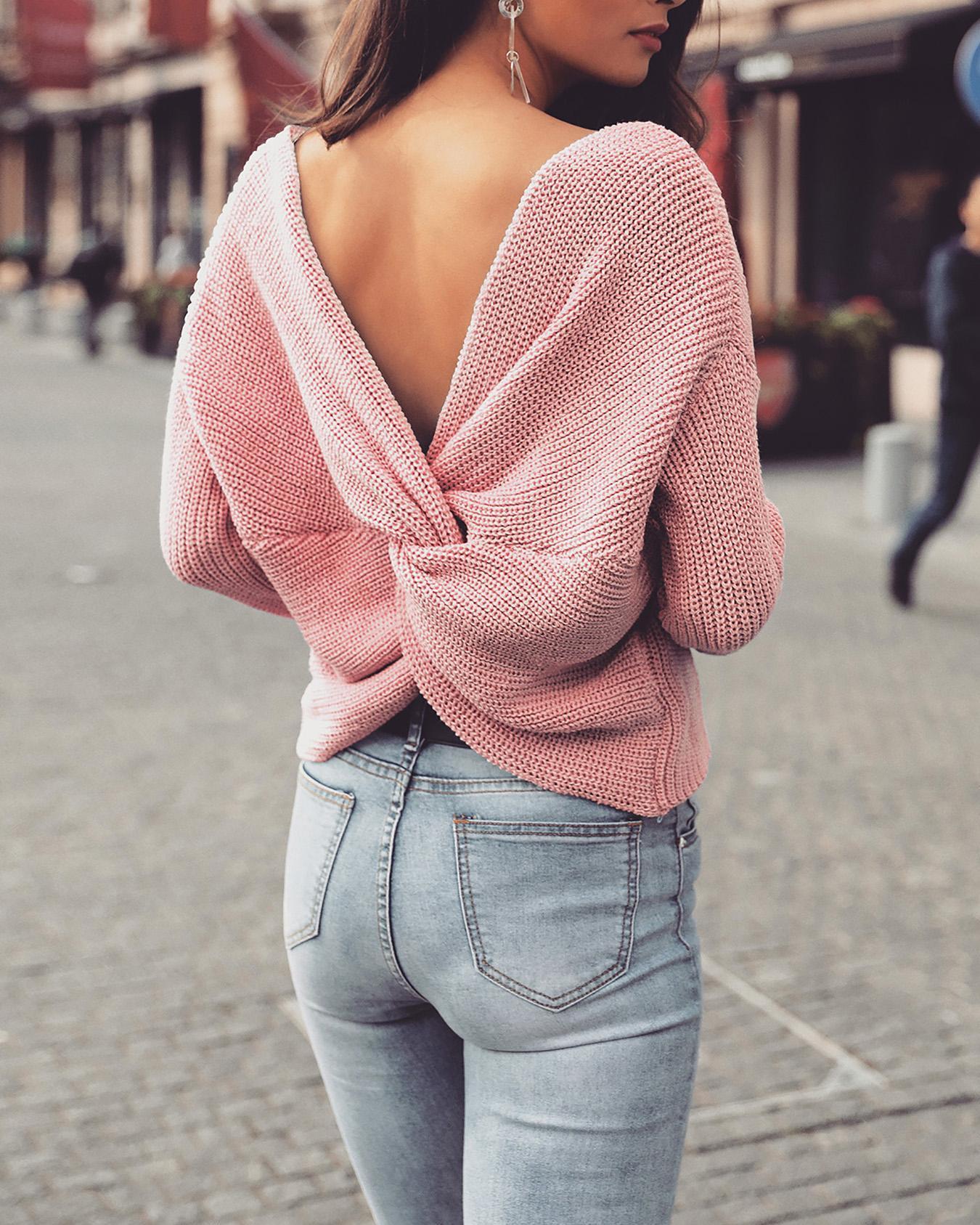 Solid Crisscross Open Back Sweater фото