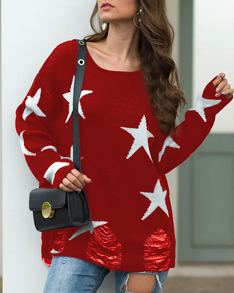 Star Print Knitted Casual Sweater фото